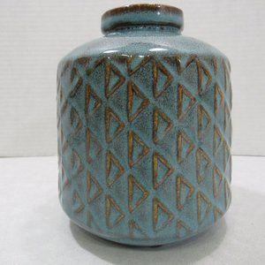 Ceramic Aqua Brown Geometric Triangle Vase